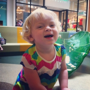 Haddie plays at the mall